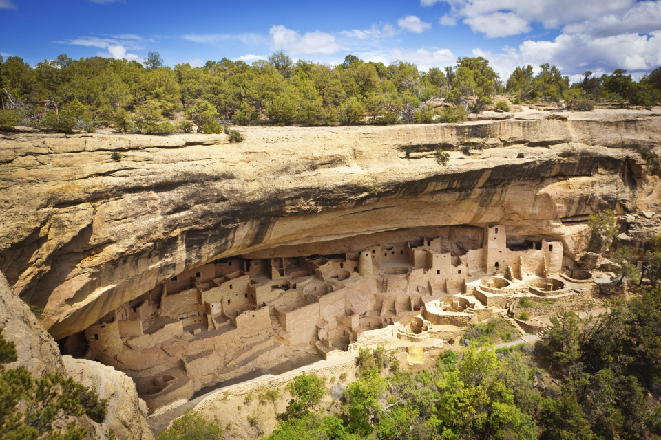 The dwellings built into a cave at the cliffs of Mesa Verde National Park