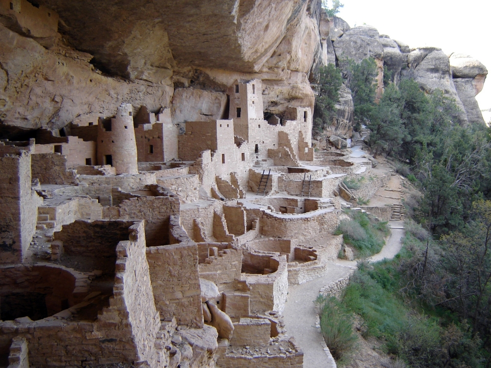 The old remains of the Cliff Palace built into the cliffside at Mesa Verde National Park