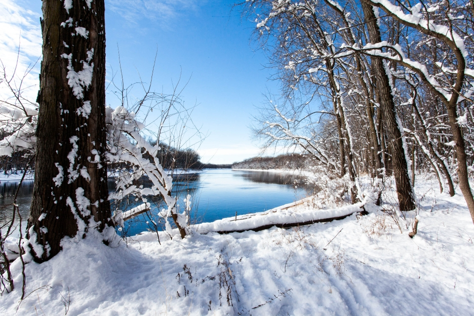 A river runs through a snowy forested landscape