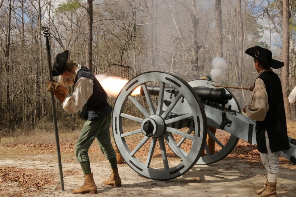 Living historians fire Old Mother Covington cannons at Moores Creek National Battlefield