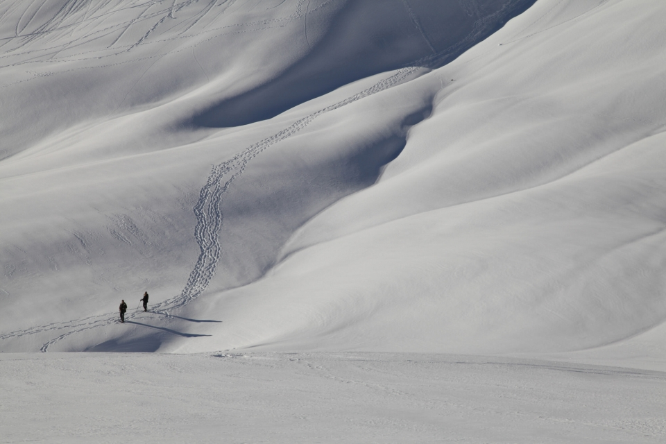 Two hikers creating a trail through the snow at Mount Rainier National Park