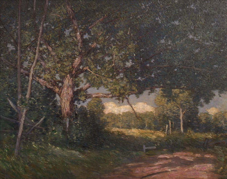 Oil painting of an oak tree, shading a footpath lined with a simple timber fence