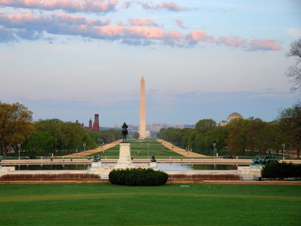 The Washington Memorial on the National Mall in the distance under blue skies