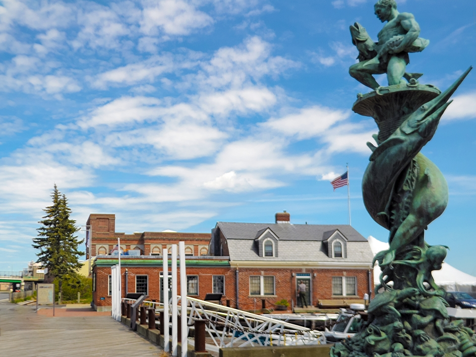 Wooden pier leading up to the Wharfinger Building at New Bedford Whaling National Historical Park