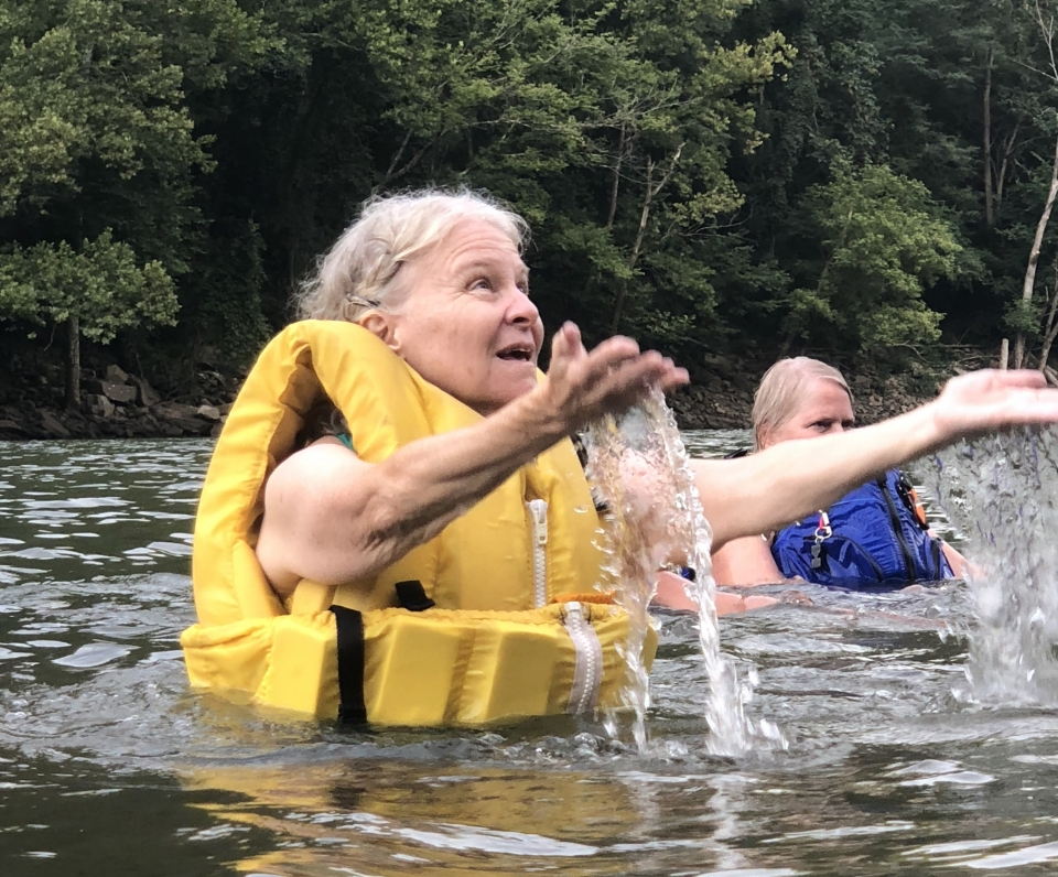 """Two visitors participating in New River Gorge National River's """"Get Active in the Parks"""" water aerobics class"""