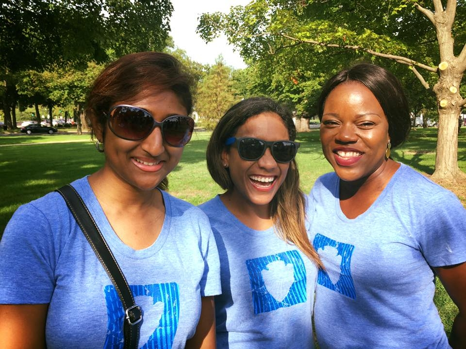 NPF staffer Roseline, Nimia, and Ola stand together at National Mall & Memorial Parks.