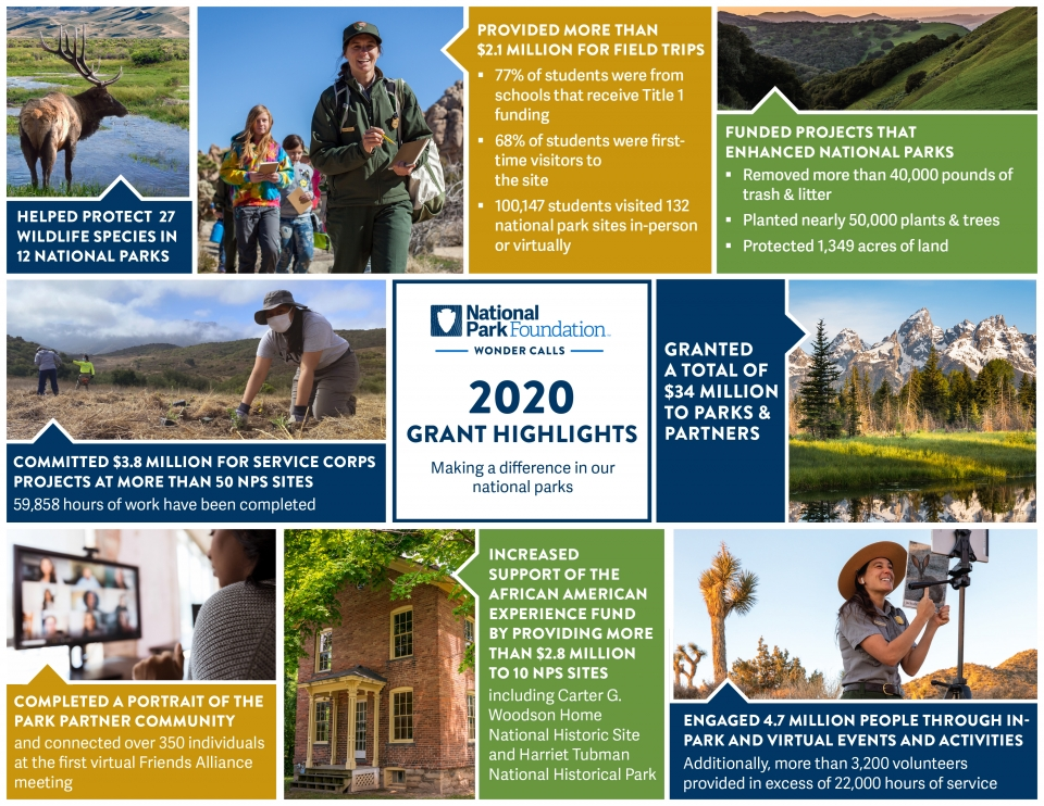 A collage of images and text describing some of the work NPF did in 2020