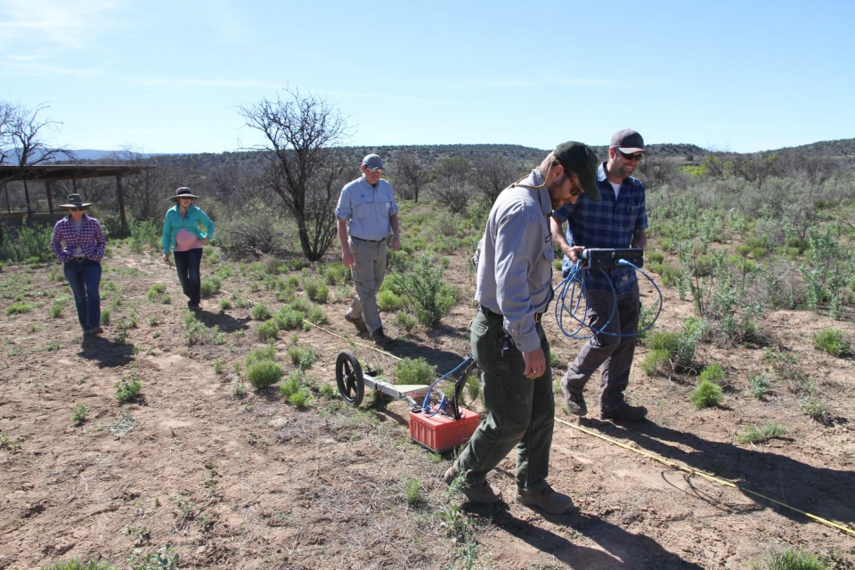 A park service team training on the use of Ground Penetrating Radar