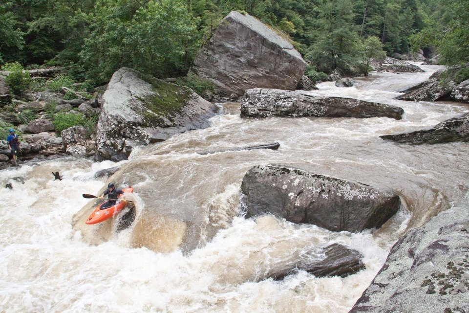 whitewater kayaker running the rapids on the Abed Wild and Scenic River in Tennessee