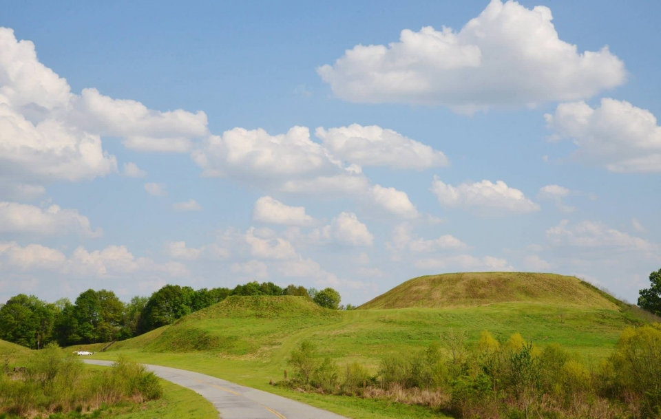 The Greater and Lesser Temple Mounds are covered in bright green grass with trees lining the background at Ocmulgee National Monument.