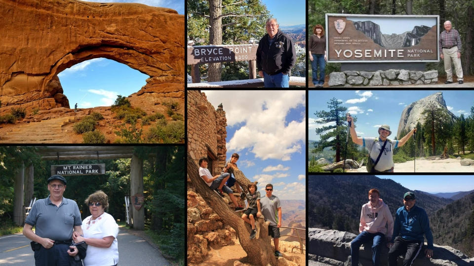 Collage of images submitted by social media followers, depicting dads and families in national parks