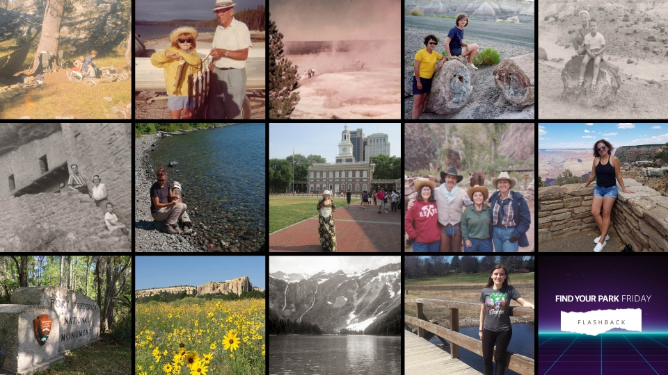 Collage of images submitted by social media followers, depicting visitors of national parks throughout the past fifty years