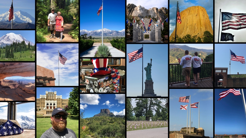 Collage of images featuring red, white, and blue submitted by social media followers of the National Park Foundation