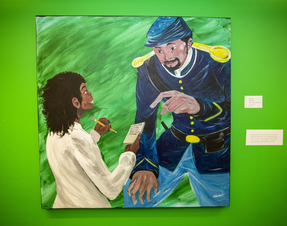 "Painting against a bright green wall, depicting a young woman holding a notepad with ""Facts About Antietam"" scribbled across. A member of park staff, dressed in a Civil War soldier's uniform, points to the notepad and smiles."