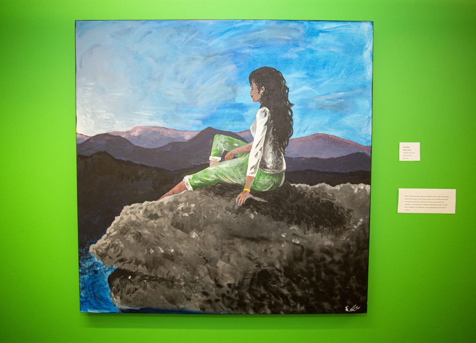 Painting against a bright green wall, depicting a woman sits on a rock, eyes closed, and faces a range of mountains.
