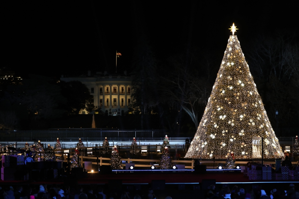 The lit National Christmas Tree and White House surrounded by the state and territory trees