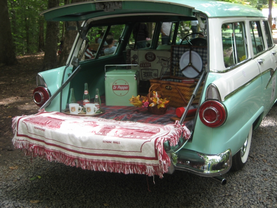 An Antique Picnic in the trunk of an antique automobile at Princes William Forest Park
