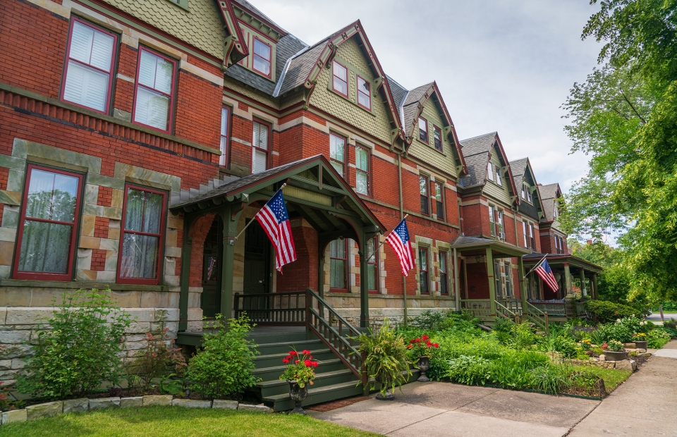 Row of red brick houses at Pullman National Monument