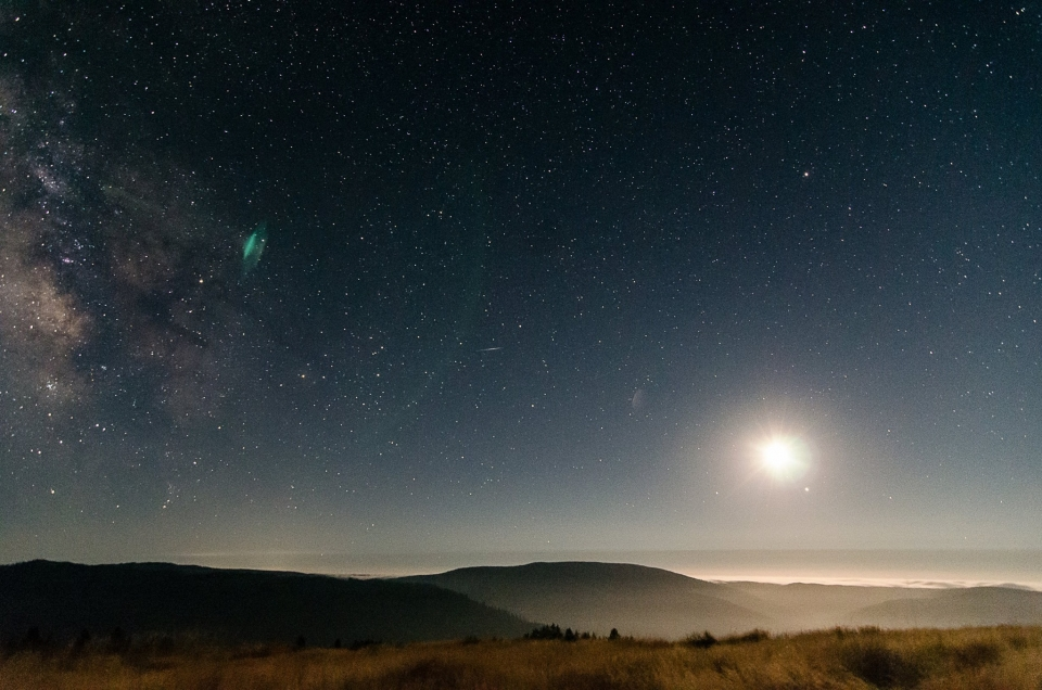 Milky Way and full moon over the Redwood Creek watershed at Redwood National and State Park