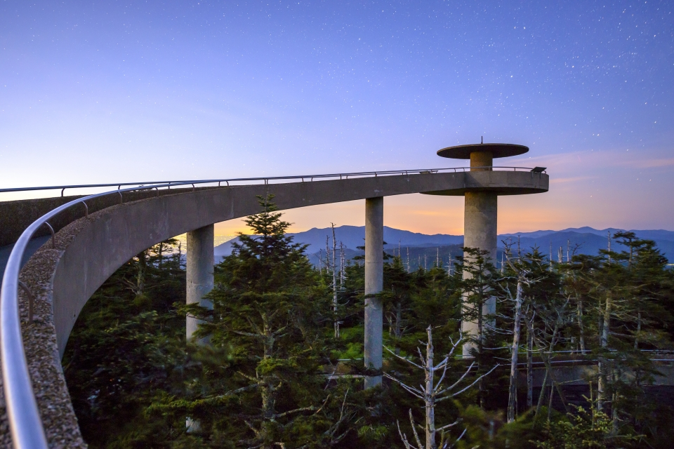 Clingmans Dome observation tower in Rocky Mountain National Park at sunset