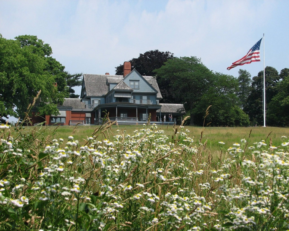 White wildflowers in front of the house at Sagamore Hill National Historic Site