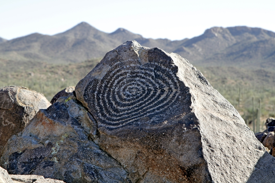 Close-up of a spiral hieroglyph at Saguaro National Park