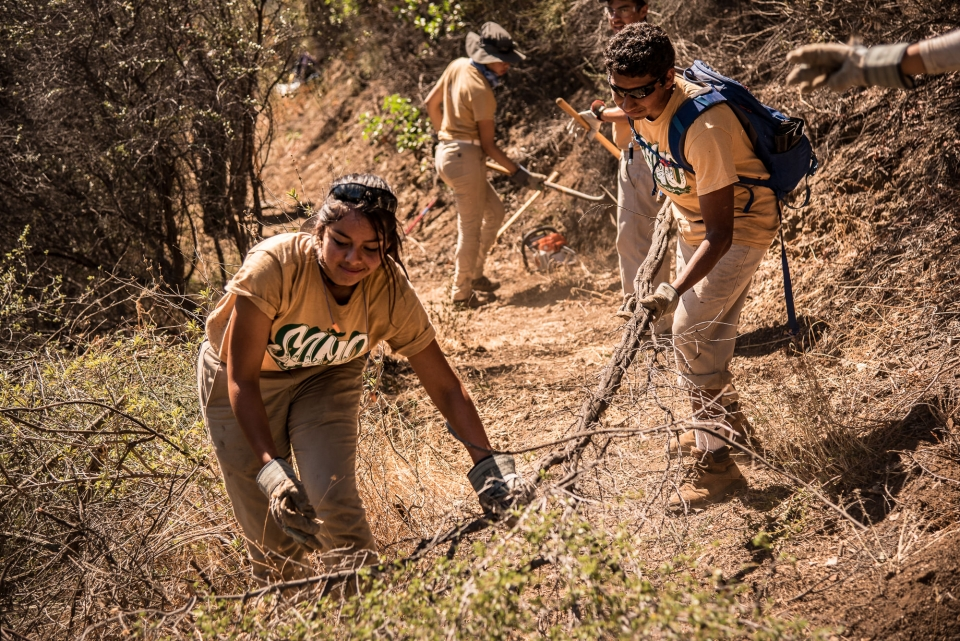 Latino youth doing trail work at Santa Monica Mountains National Recreation Area