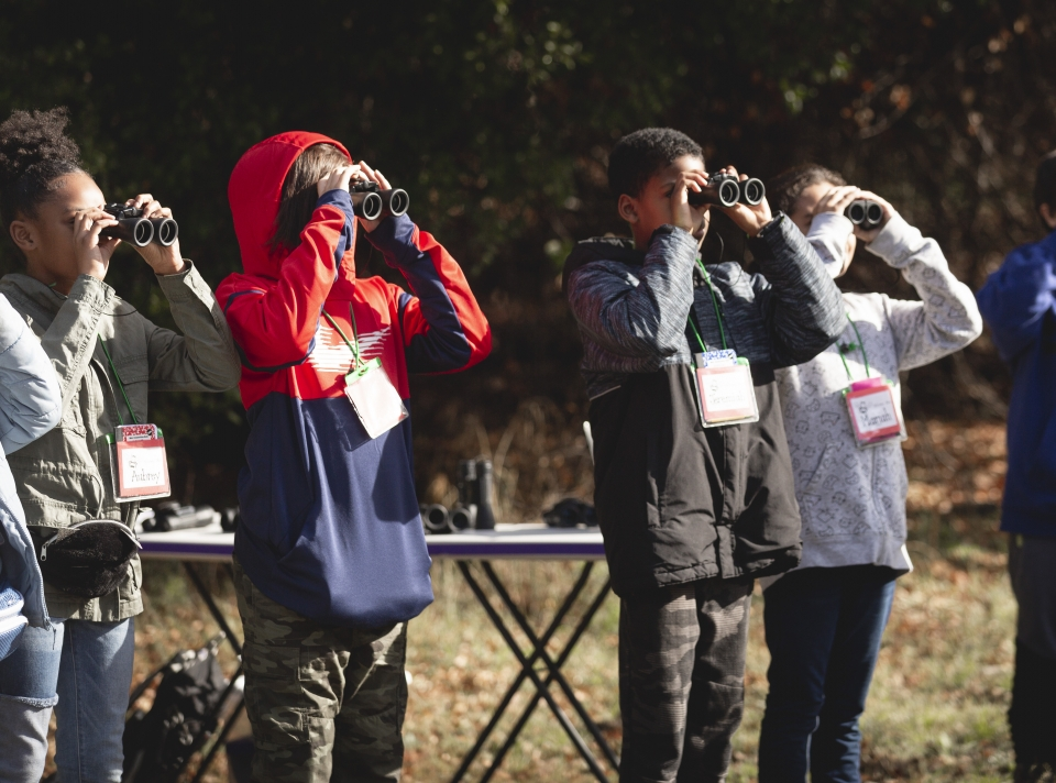 Students look through binoculars into the sun