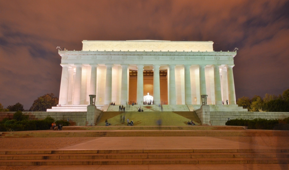 Visitors travel up and down the iconic steps of the Lincoln Memorial