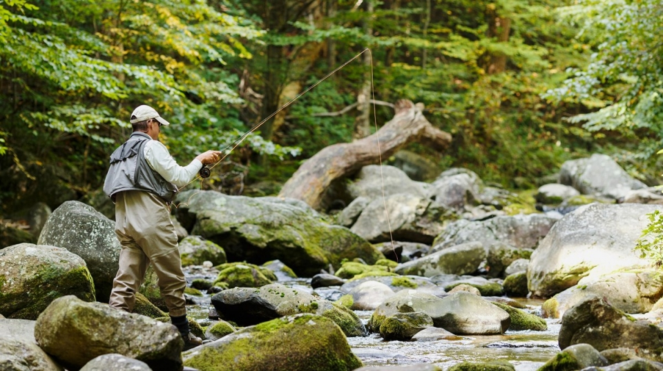 An angler casts his line into a mountain stream from a rocky shore.