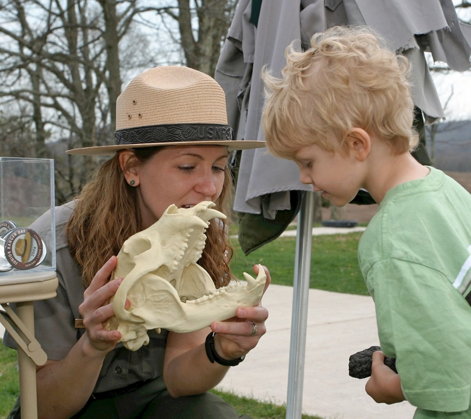 A park ranger showcases fossils to a visitor on Junior Ranger Day at Shenandoah National Park