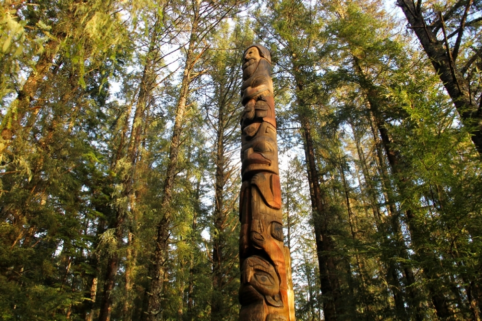 Totem pole in forest at Sitka National Park