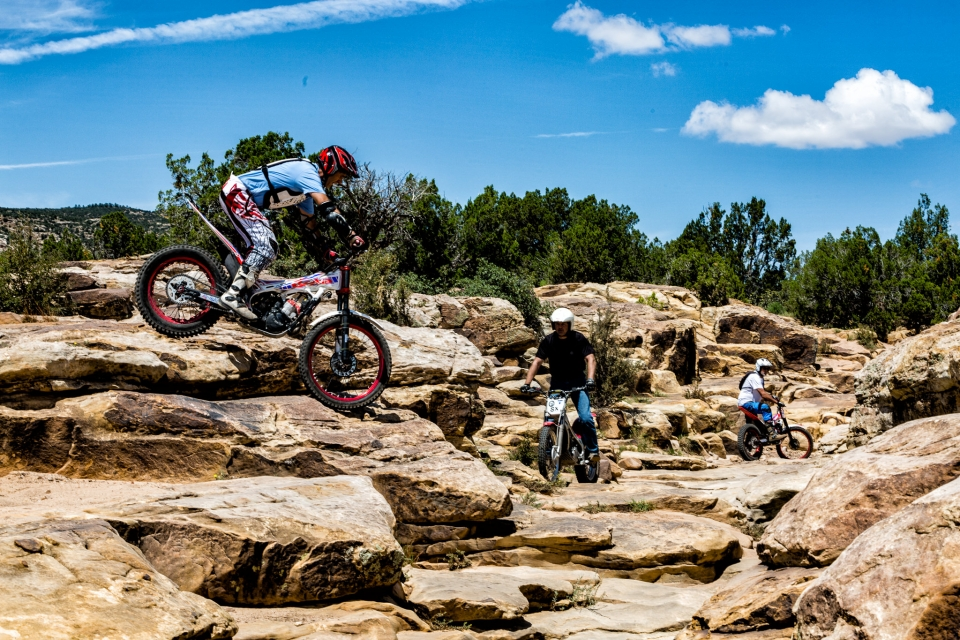 3 Mountain Bikers on the sandstone rocky trails of San Ysidro Trails Area