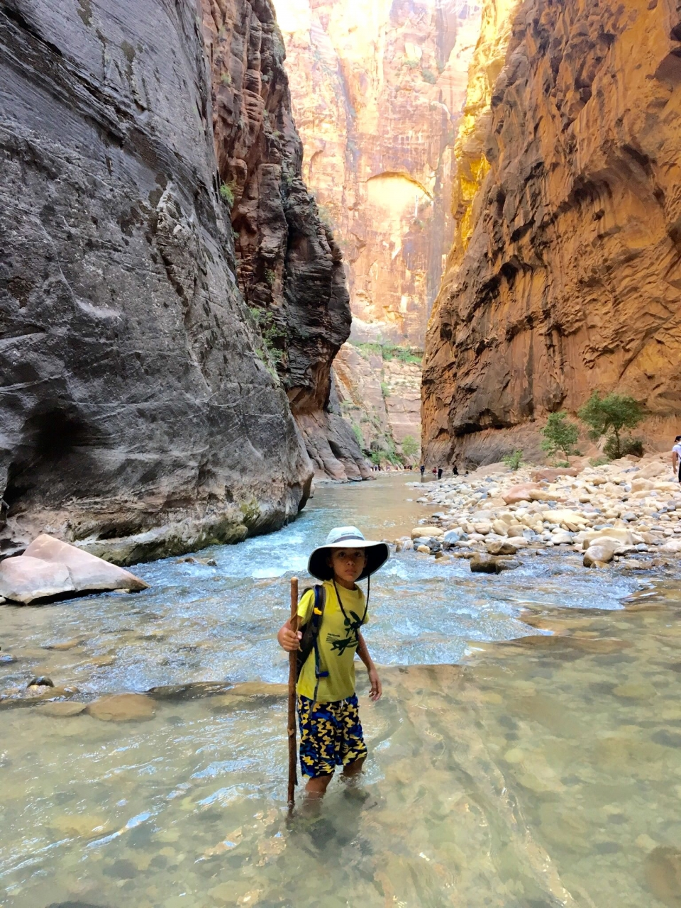 Boy hiking with a stick through a river running between towering red sandstone cliffs of a canyon at Zion National Park