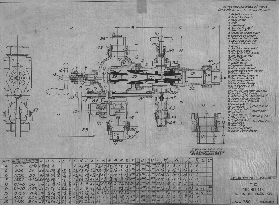 Large format drawing of a Nathan locomotive injector from Steamtown National Historic Site