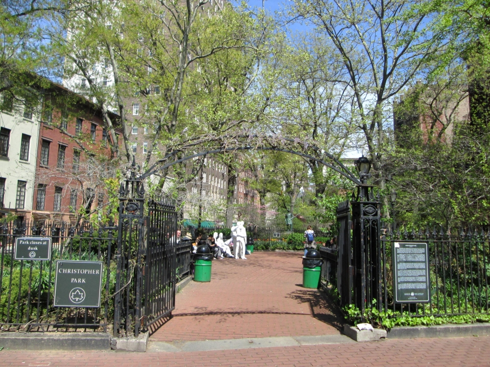 The iron gates into Christopher Park as part of the Stonewall National Monument