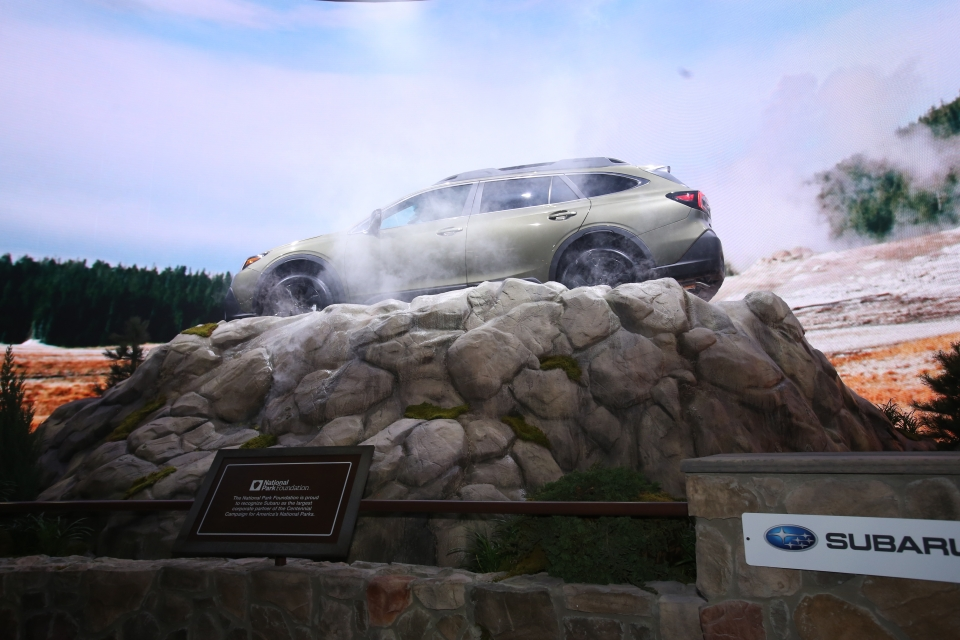 Subaru Outback as showcased in a national parks-inspired display at a 2019 auto show
