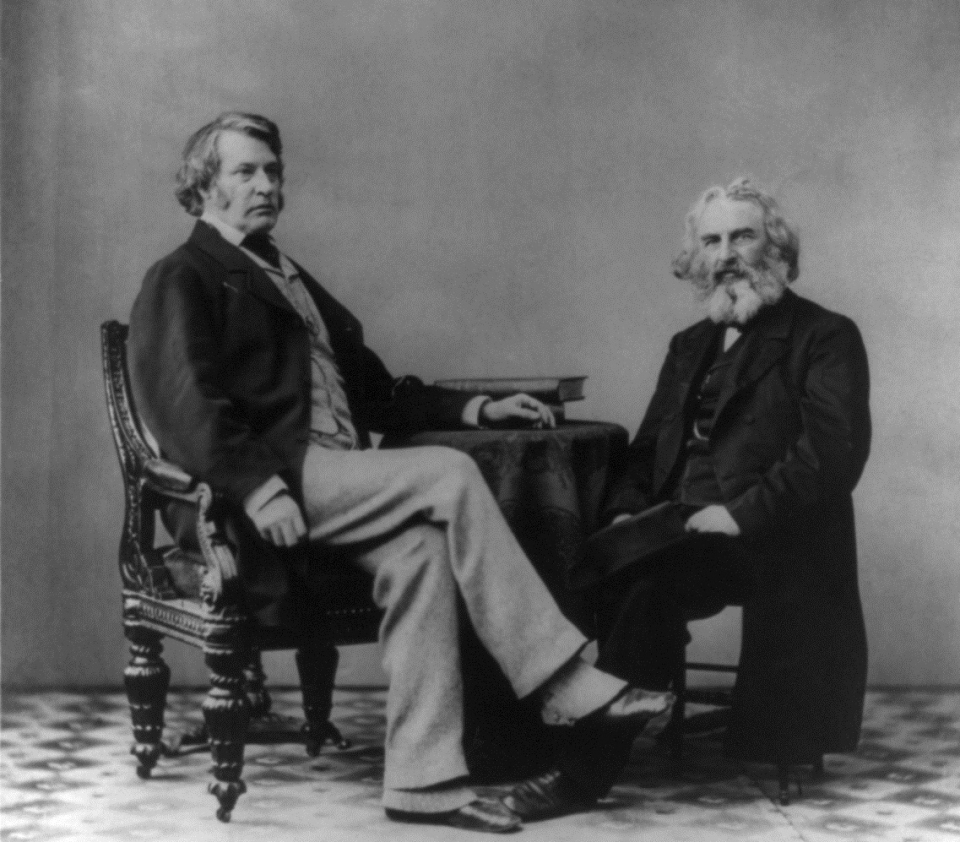 """Portrait of Senator Charles Sumner and Henry Wadsworth Longfellow. Titled """"The Politics and Poetry of New England""""."""