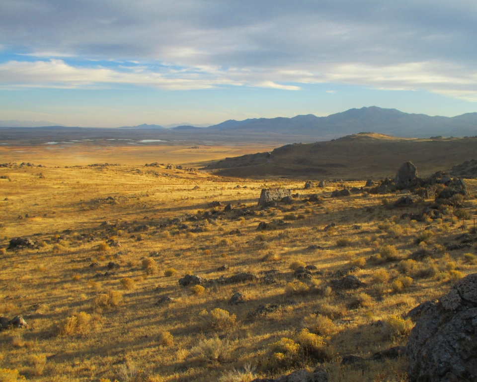 A late summer sunset looking south from the Big Fill Trail at Golden Spike National Historical Park