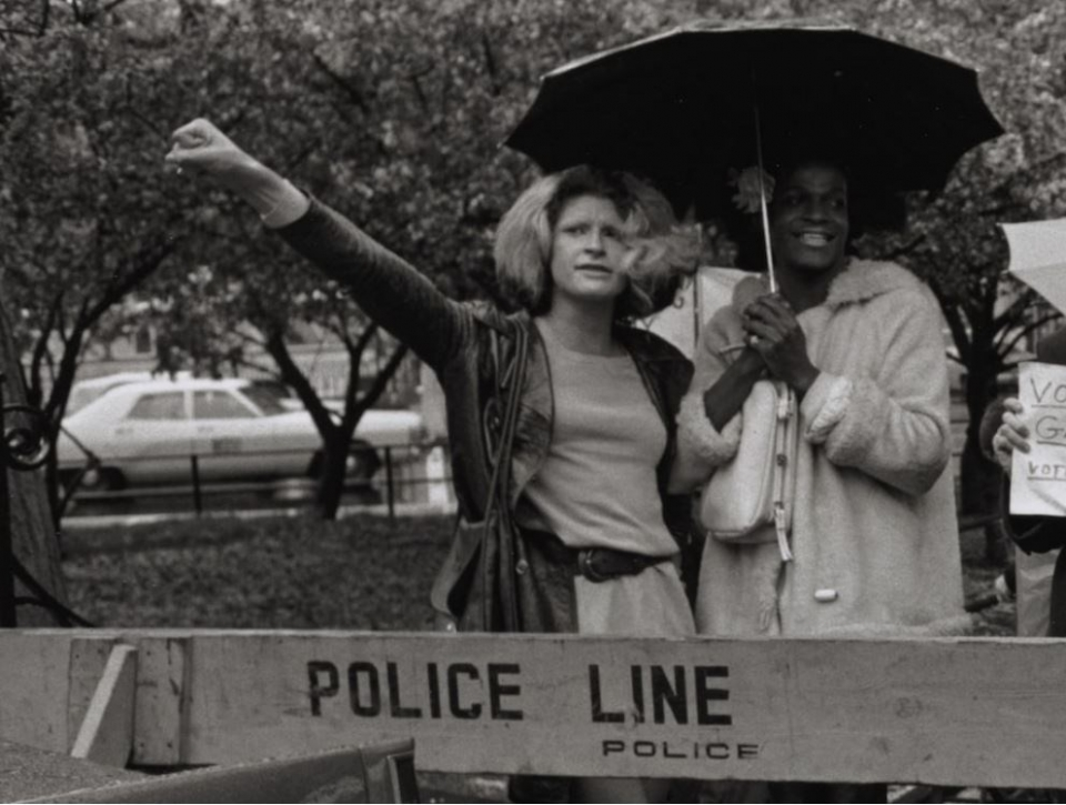 Sylvia Rivera and Marsha P. Johnson stand at the front lines of a protest