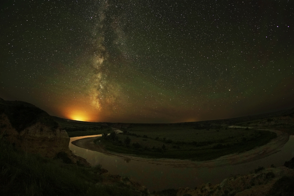 Milky Way night sky over the Wind Canyon at Theodore Roosevelt National Park