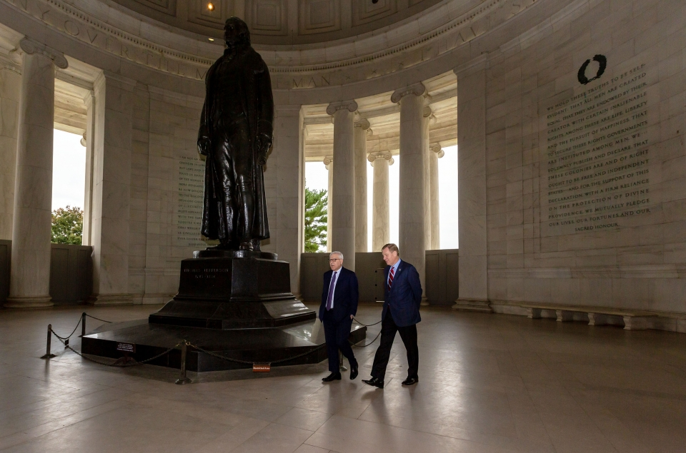 David Rubenstein and Will Shafroth at Thomas Jefferson Memorial
