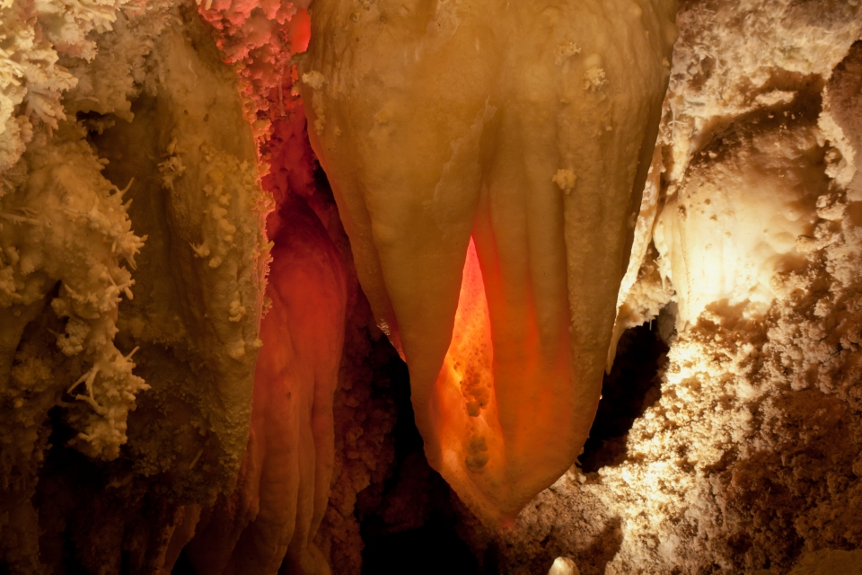 """The glowing """"heart"""" stalactite in Timpanogos Cave National Monument"""