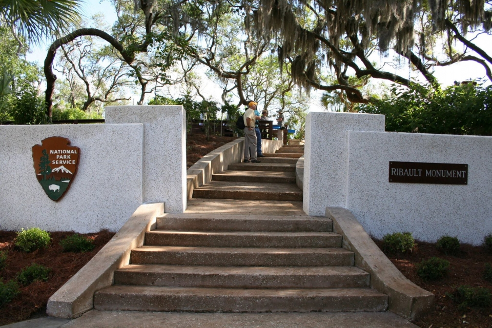 The concrete steps leading up to the Ribault Monument at Timucuan Ecological & Historic Preserve