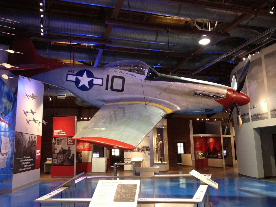 A full-size reproduction P-51 Mustang fighter plane