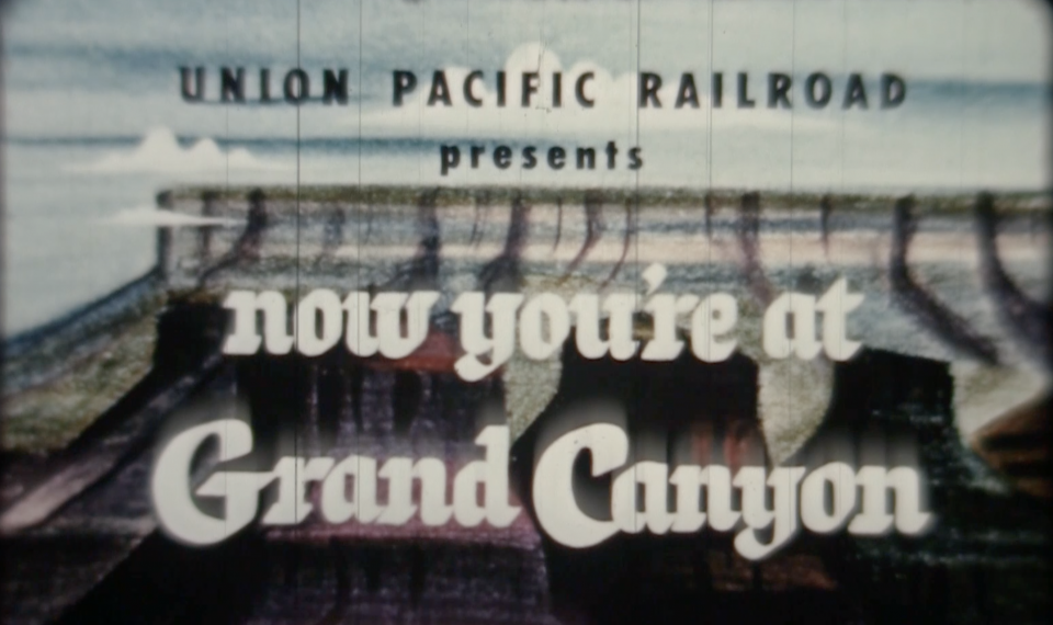 "Vintage travel poster that reads: ""Union Pacific Presents: Now You're at Grand Canyon"""