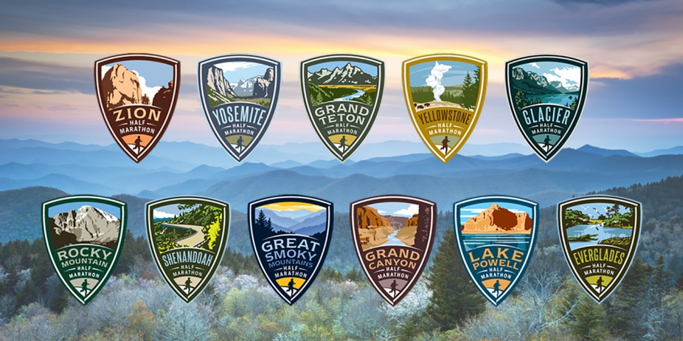 11 graphics of national park half marathons over an image of Great Smoky Mountains