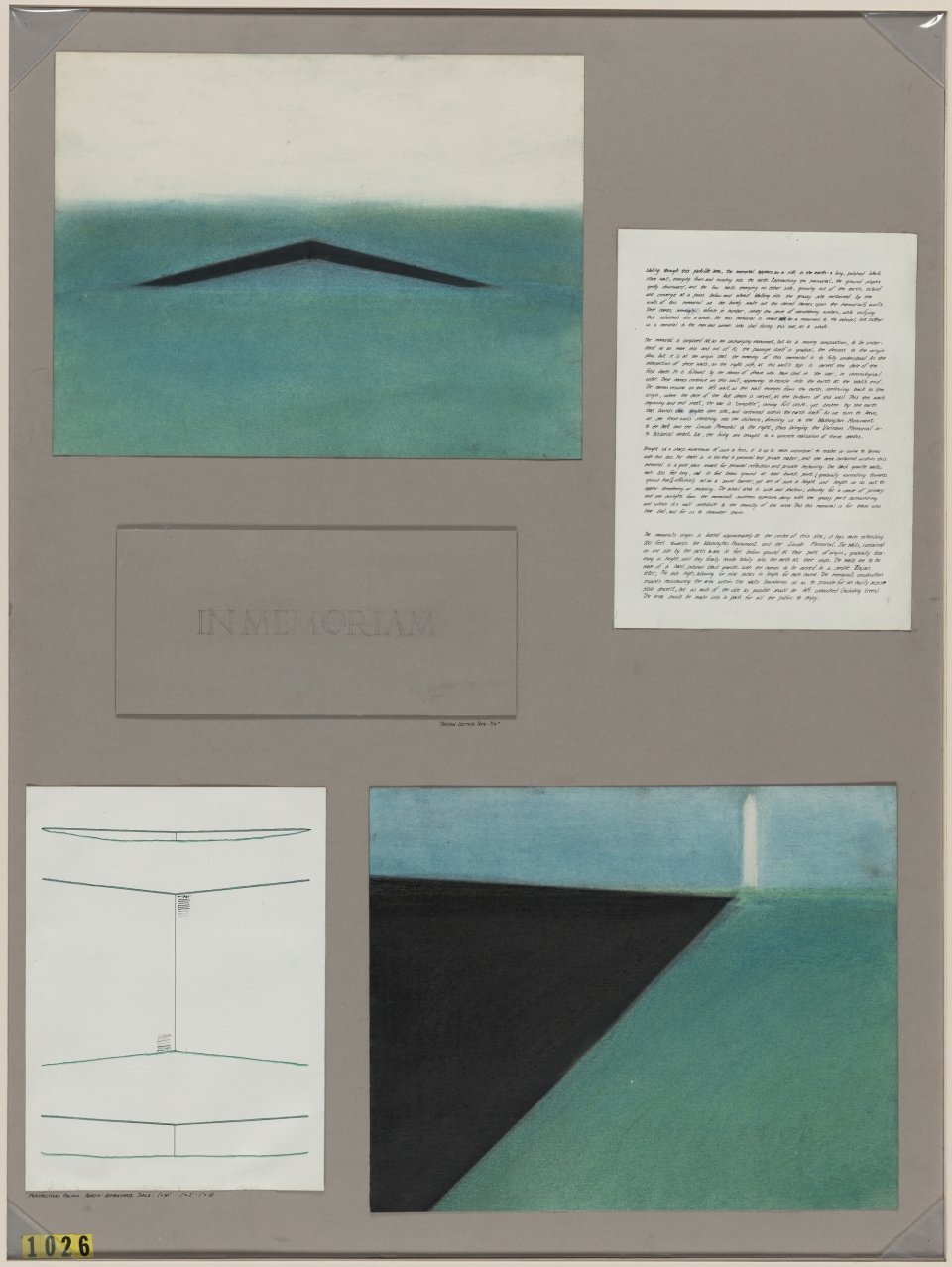 A collage of the memorial's architectural drawings and Maya Lin's one-page written summary on her concept.