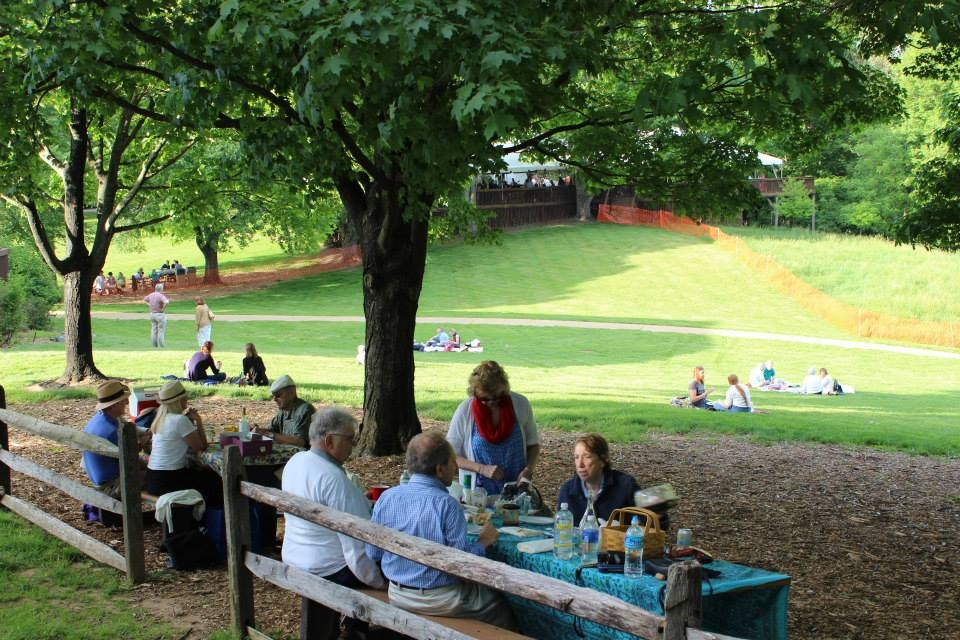 people picnicking at tables and on the grass at Wolf Trap National Park for the Performing Arts
