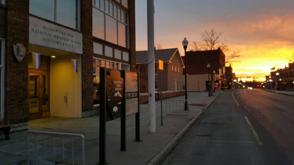 Sunset at the entrance of Women's Rights National Historical Park in Seneca Falls, New York